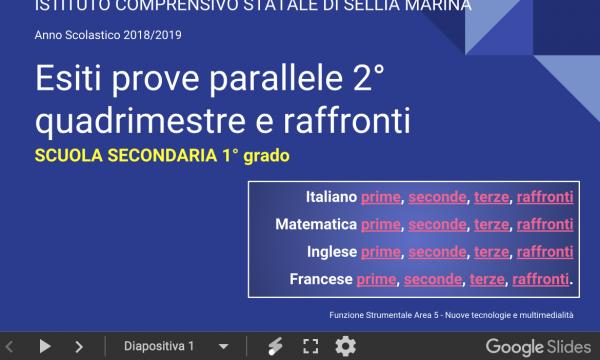 Protetto: Esiti prove parallele 2° Quadrimestre e Raffronti Scuola Secondaria 1° grado